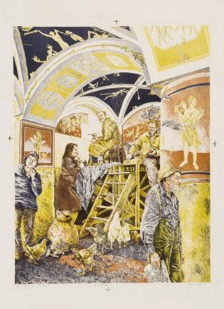 Modernaus meno centro kolekcija/Pusryčiai pas Petrą Repšį, litografija, 1985