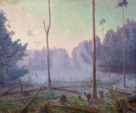 """Nacionalinio M. K. Čiurlionio dailės muziejaus nuotr./A. Žmuidzinavičius – """"Miškas ūžia, verkia, gaudžia"""" 1907m."""