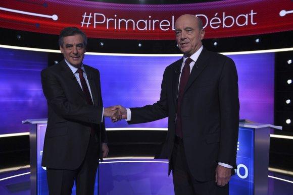 """Scanpix""/AP nuotr./Francois Fillono ir Alaino Juppe debatai"