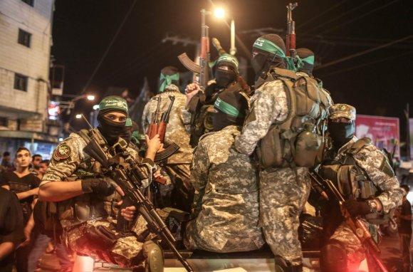 """""""Scanpix""""/""""Sipa USA"""" nuotr./""""Hamas"""" karių prieš Izraelį nukreiptas mitingas"""