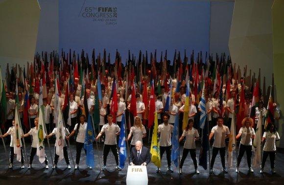 """""""Reuters""""/""""Scanpix"""" nuotr./FIFA prezidento Seppo Blatterio kalba per 65-ojo FIFA kongreso atidarymo ceremoniją"""