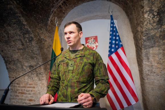 Alfredo Pliadžio nuotr./JAV sausumos pajėgų Europoje vado spaudos konferencija