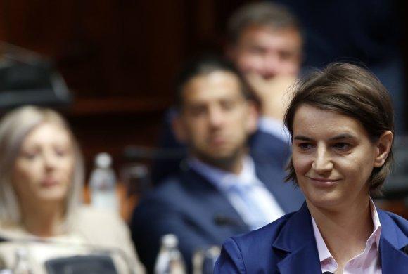 """""""Scanpix""""/AP nuotr./Naujoji Serbijos ministrė pirmininkė – Ana Brnabič"""