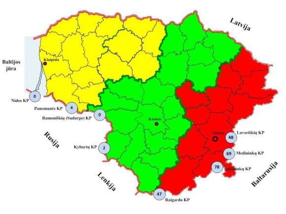Lietuvos muitinės nuotr./Neteisėtų pinigų siūlymo atvejų žemėlapis