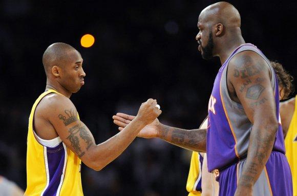 "AFP/""Scanpix"" nuotr./Kobe Bryantas ir Shaquille'as O'Nealas"