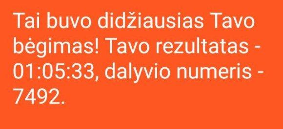 Asmeninės nuotr./Vilniaus maratono rezultatas