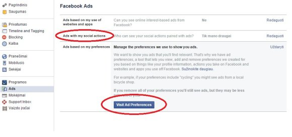 """Facebook"" reklamos nustatymai"