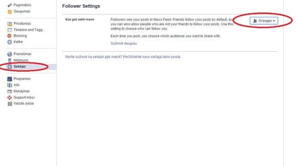 """""""Facebook"""" sekėjų nustatymai"""