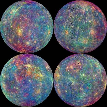 NASA nuotr./Merkurijaus atmosferos ir paviršiaus sudėties duomenys. Spalvos, kurios buvo įtrauktos tam, kad būtų lengviau daryti tyrimus, simbolizuoja skirtingas paviršiaus medžiagas