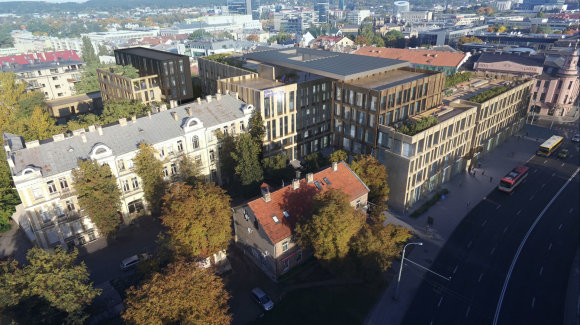 """""""Unitechtus"""" vizualizacija /Konkursą laimėjusios bendrovės pasiūlymas pastatų kompleksui Gedimino prospekte"""