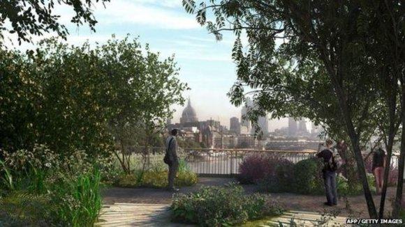 arch. Heatherwick Studio, Arup vizualizacija/Londono tiltas-sodas