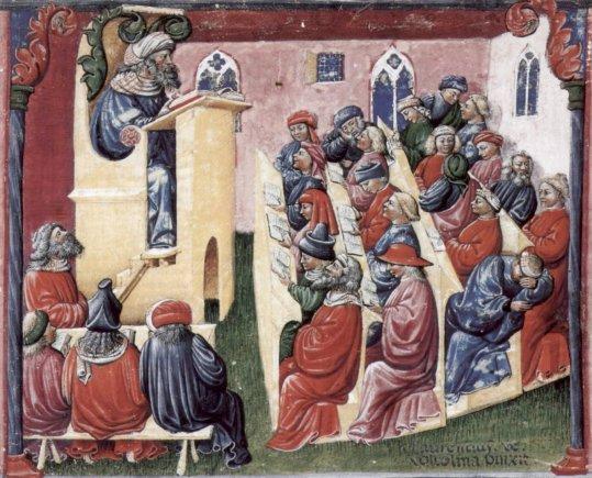 Studentų sportas: paskaita universitete, Bolonija, XIV a.