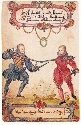 Studentai fechtuojasi, 1590 m.