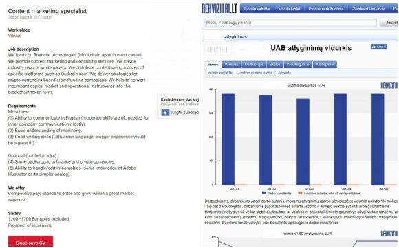 Lrt.lt nuotr./Įmonė turinio rinkodaros specialistui siūlo 1200–1700 eurų atlyginimą, atskaičius mokesčius, kai vidutinis atlyginimas įmonėje – 380 eurų