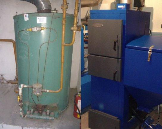 Projekto partnerio nuotr./Senus dujinius šildymo katilus (nuotrauka kairėje) Moldovos vaikų darželiuose pakeis nauji biokuru kurenami katilai (nuotrauka dešinėje)