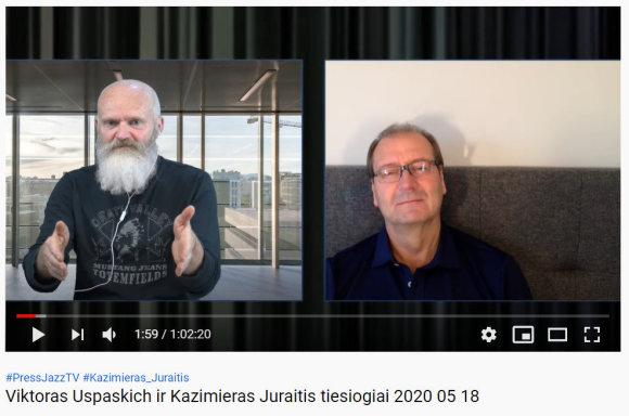 "15min nuotr./K.Juraitis ir V.Uspakich ""PressJazz"" laidoje. gegužės 18 d."