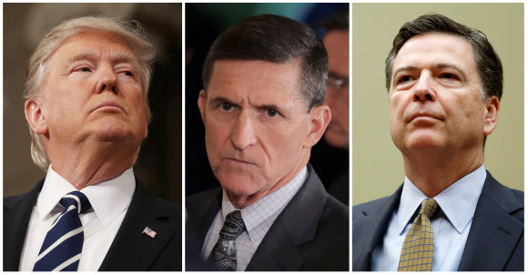 """""""Reuters""""/""""Scanpix"""" nuotr./D.Trumpas. M.Flynnas ir J.Comey"""