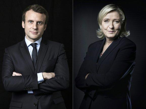 """AFP/""""Scanpix"""" nuotr./E.Macronas ir M.Le Pen"""