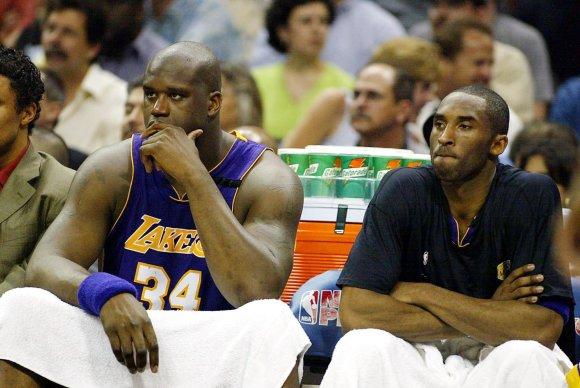 "AFP/""Scanpix"" nuotr./Shaquille'as O'Nealas ir Kobe Bryantas"