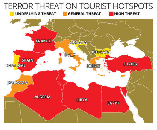 Anglija.today nuotr./Galimų terorizmo atakų žemėlapis