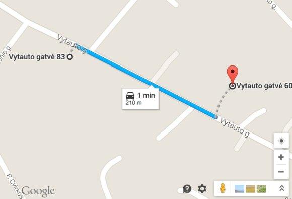 Google Maps nuotr./Atstumas nuo Ariogalos gaisrinės iki nelaimės vietos
