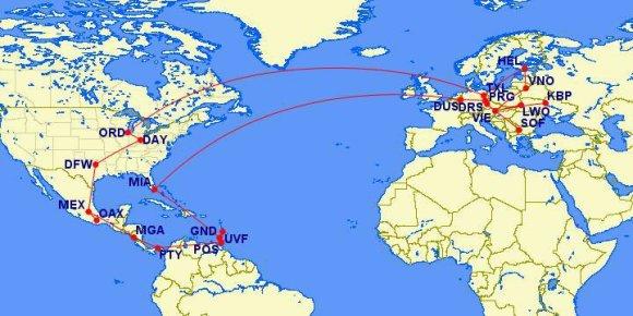 """""""Facebook"""" nuotr./Scotto Keyeso kelionių žemėlapis"""