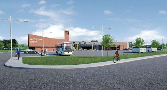 Šilutės r. savivaldybė /Planuojamos statyti Šilutės rajono autobusų stoties vizualizacija