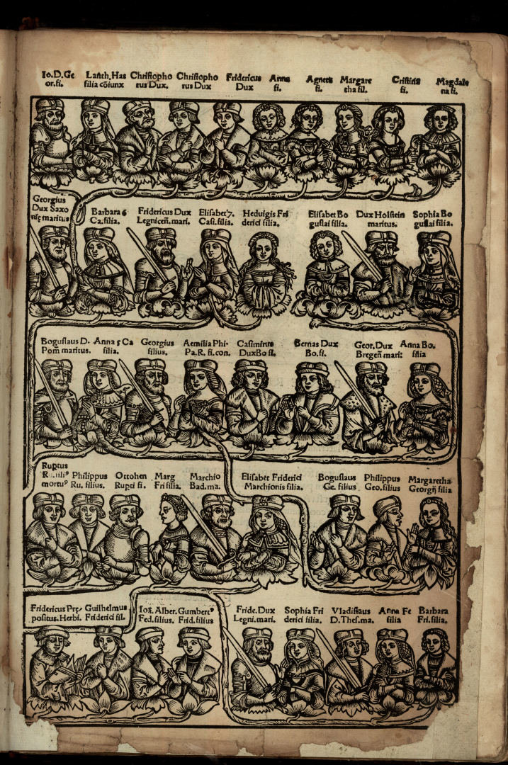 "Jodoko Liudviko Decijaus ""De Jagiellonum familia"" (Krokuva, 1521) iliustracija - Jogailaičių giminės medis"