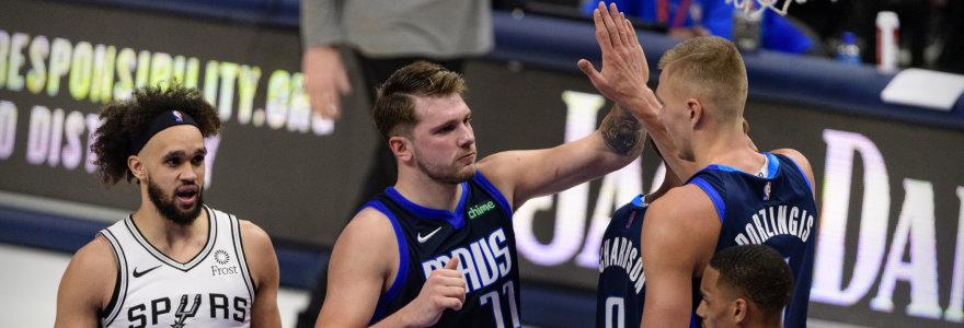 """K.Porzingis ir L.Dončičius įkrėtė 50 taškų su žvaigžde išsiskyrusiai """"Spurs"""""""