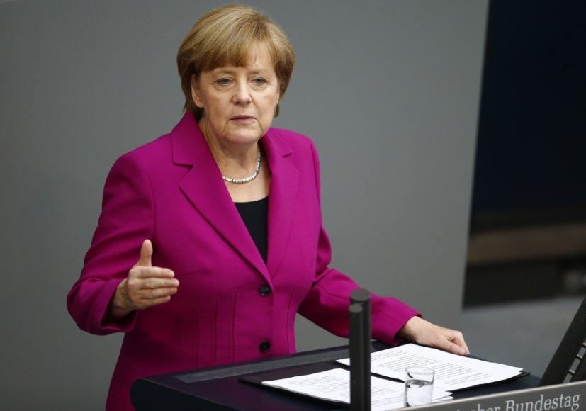 Angela Merkel Vokietijos parlamento rūmuose