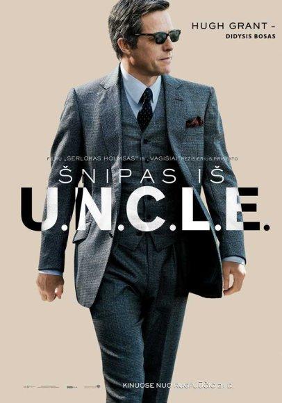"Hugh Grantas filmo ""Šnipas iš U.N.C.L.E."" plakate"