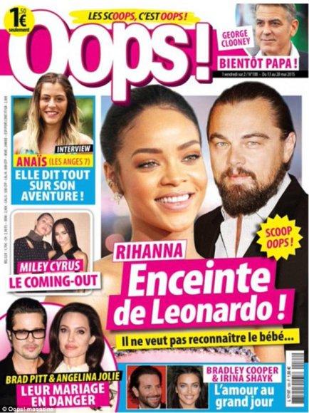 """Prancūzų žurnalas """"Oops"""" paskelbė, esą Leonardo DiCaprio užtaisė Rihannai vaiką ir paliko ją"""