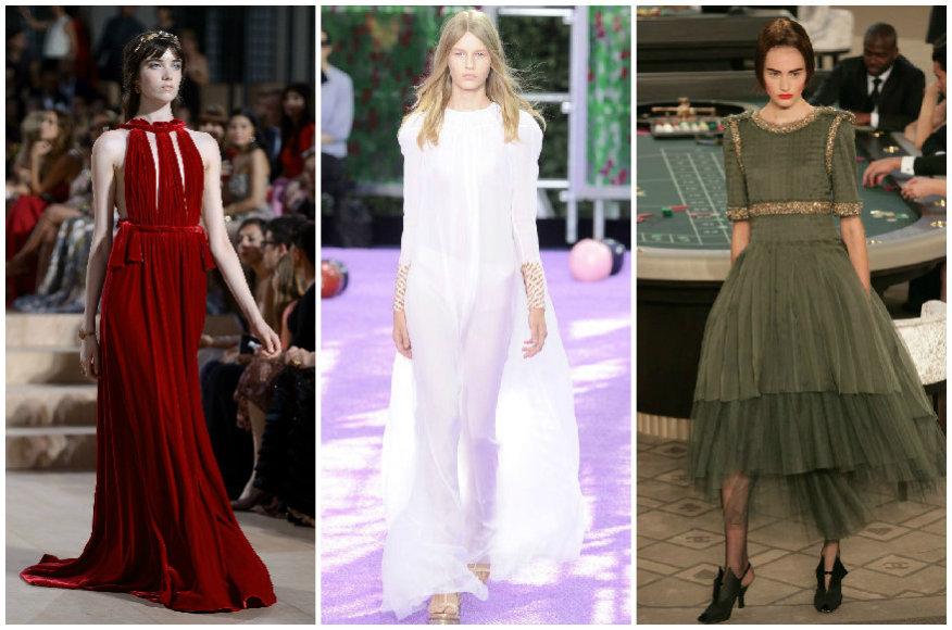 """""""Valentino"""", """"Dior"""" ir """"Chanel"""" aukštosios mados kolekcijų modeliai"""
