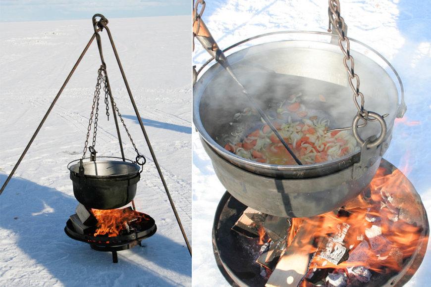 Karšta žuvienė ant užšalusio ežero