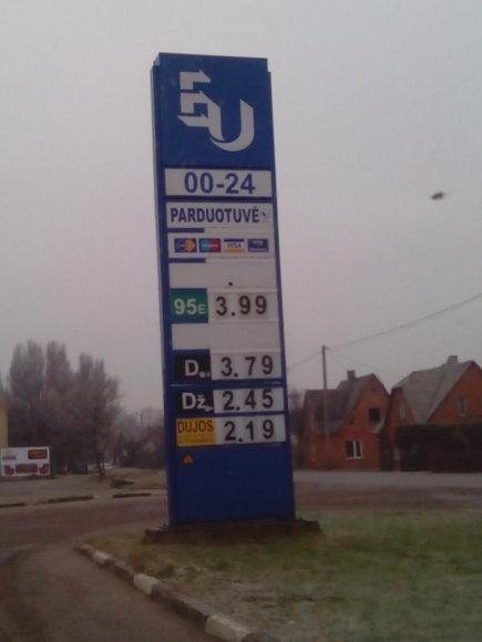 Degalų kainos Mažeikiuose