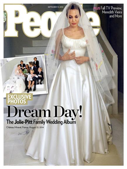 """Žurnalo """"People"""" viršelis/Angelina Jolie savo vestuvių dieną"""