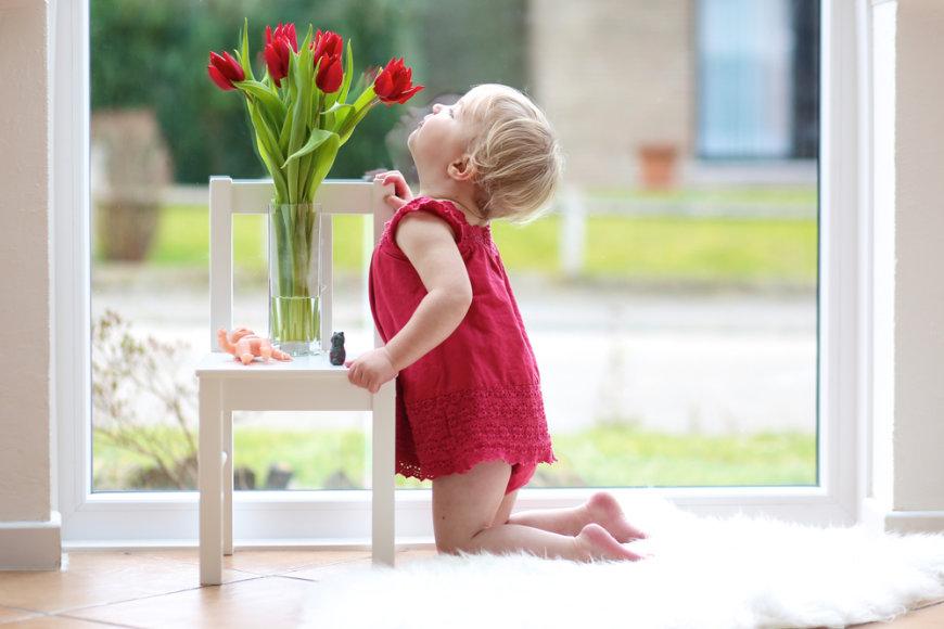 Mergaitė uosto tulpes