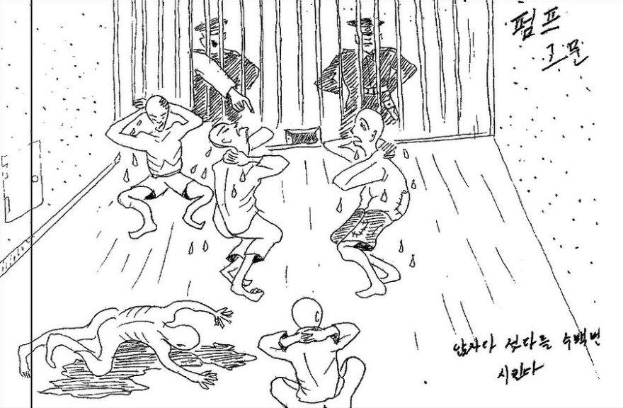 Kaliniai verčiami atsisėsti ir atsistoti šimtus kartų be pertraukos