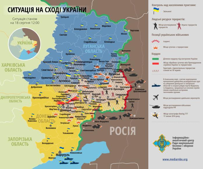 Situacija rytų Ukrainoje rugpjūčio 18 d.