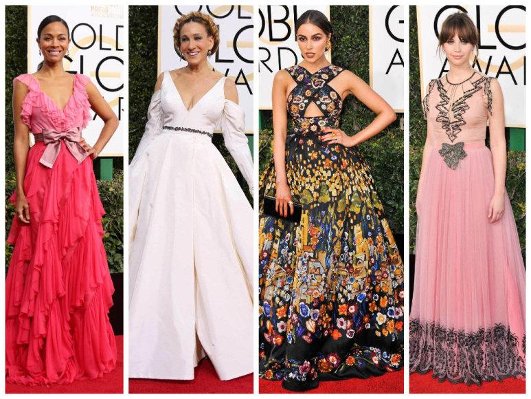 Zoe Saldana, Sarah Jessica Parker, Olivia Culpo ir Felicity Jones