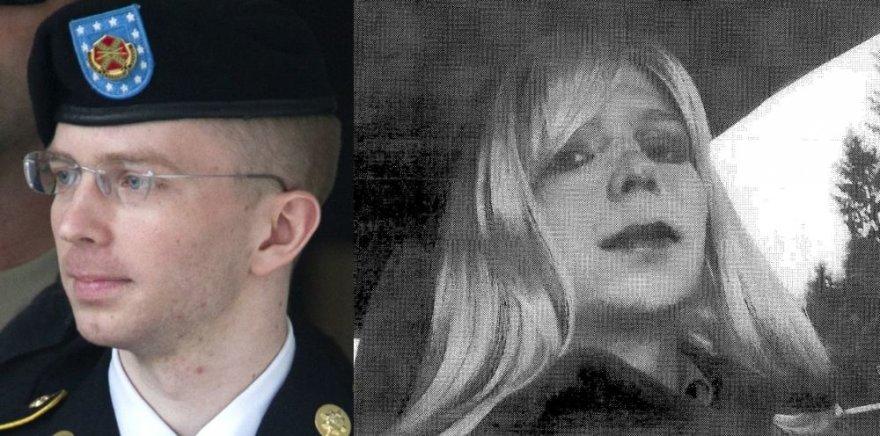 Kairėje - Bradley Manningas teisme 2013 metais. Dešinėje - nuotrauka iš 2010 metų, kai jis apsirengęs kaip moteris