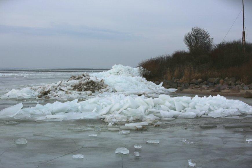 Vėjas pamaryje laužo ledus