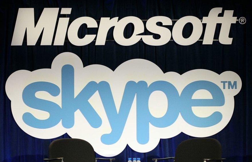 """""""Microsoft"""" ir """"Skype"""" logotipai."""