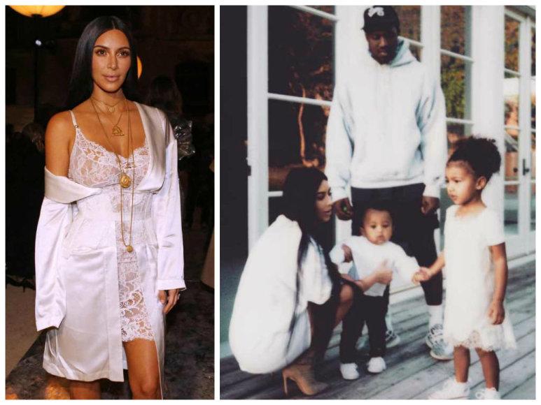 Kim Kardashian po trijų mėnesių pertraukos grįžo į socialinius tinklus: pasidalijo šeimos nuotrauka