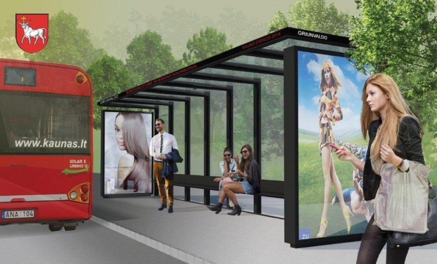 Viešojo transporto stotelės stoginės vizualizacija