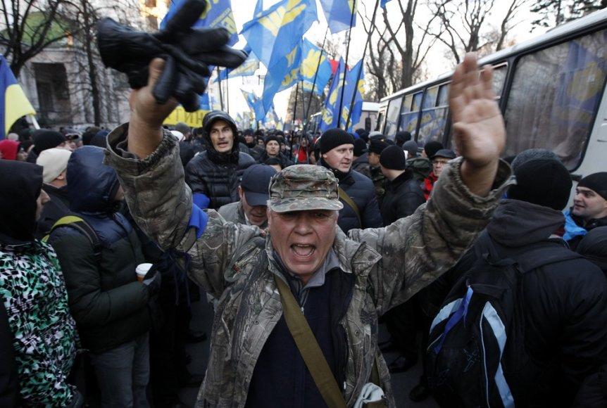 Protestuotojai prie Ukrainos parlamento