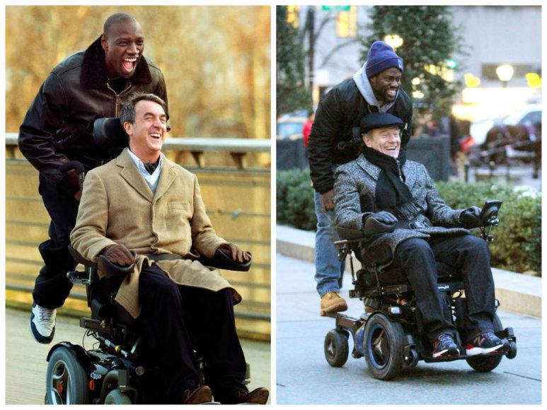 """Omaras Sy ir Francois Cluzet prancūzų filme """"Neliečiamieji"""" (kairėje, 2011 m.) ir Kevinas Hartas su Bryanu Cranstonu amerikietiškoje filmo versijoje (2017 m.)"""