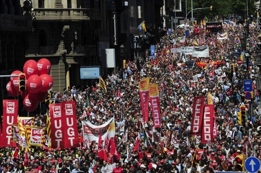 Gegužės 1-osios protestas Barselonoje