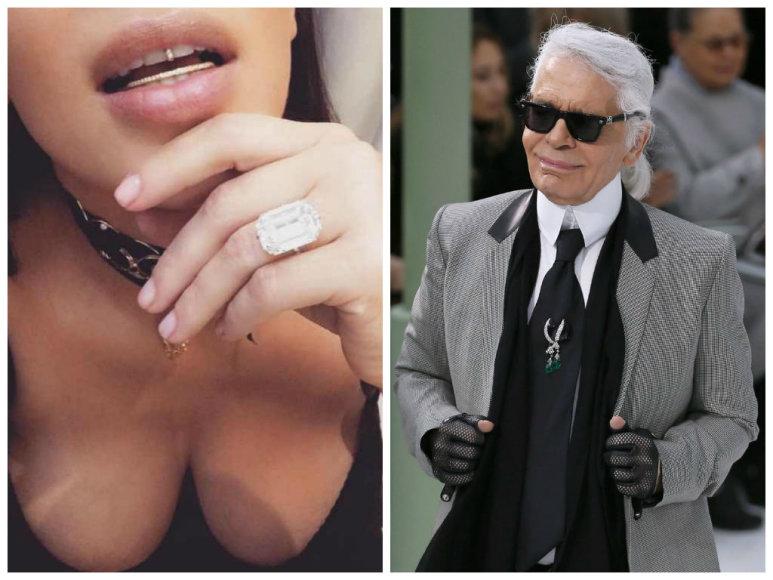 Karlas Lagerfeldas išbarė Kim Kardashian, kad ji puikuojasi savo deimantais