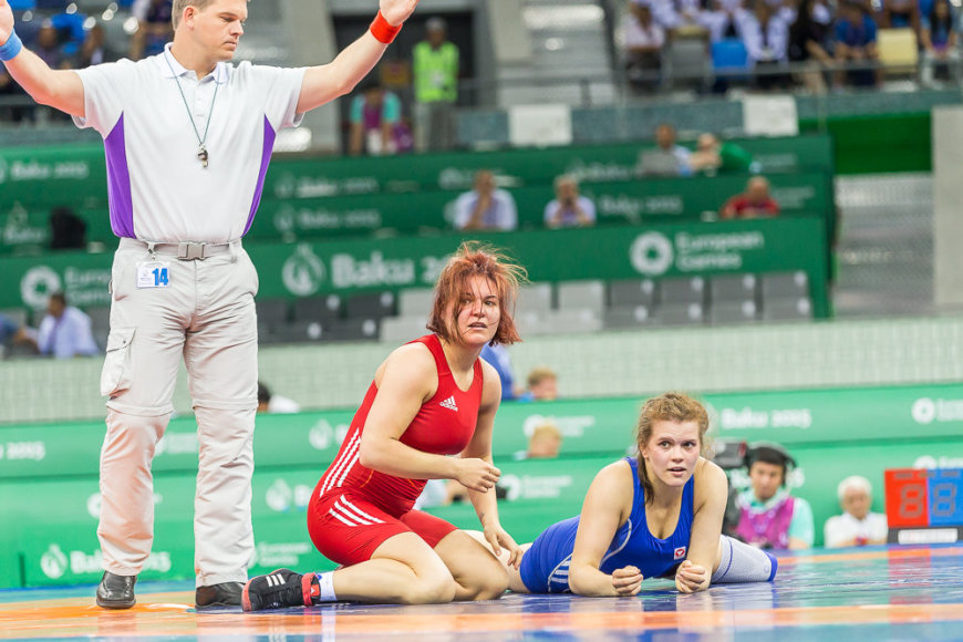 Europos žaidynių imtynių turnyre Giedrė Blekaitytė kovos dėl bronzos